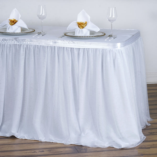 17FT White 2 Layer Tulle Tutu Table Skirt With Satin Attachment