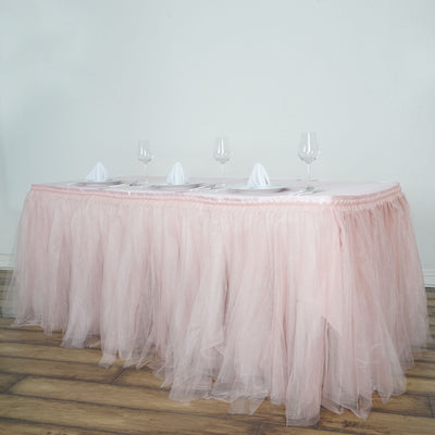 14 FT Two Layered Pleated Tulle Tutu Table Skirt With Satin Edge - Rose Gold | Blush
