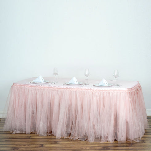 17 FT Two Layered Pleated Tulle Tutu Table Skirt With Satin Edge - Rose Gold | Blush