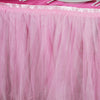 17 FT Two Layered Pleated Tulle Tutu Table Skirt With Satin Edge - Pink