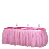 21FT Pink Two Layered Pleated Tulle Tutu Table Skirt With Satin Edge