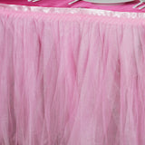 21FT Two Layered Pleated Tulle Tutu Table Skirt With Satin Edge - Pink