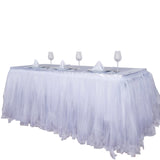 14 FT White Two Layered Pleated Tulle Tutu Table Skirt With Satin Edge