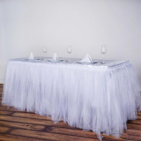 14FT White Two Layered Pleated Tulle Tutu Table Skirt With Satin Edge
