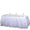 17 FT White Two Layered Pleated Tulle Tutu Table Skirt With Satin Edge