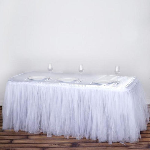 17 FT Two Layered Pleated Tulle Tutu Table Skirt With Satin Edge - White