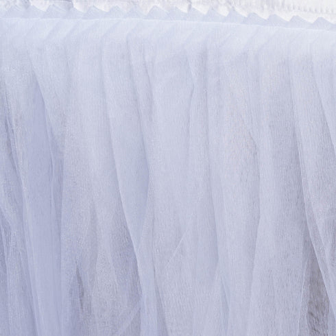 21 FT White Two Layered Pleated Tulle Tutu Wedding Party Banquet Table Skirt With Satin Edge