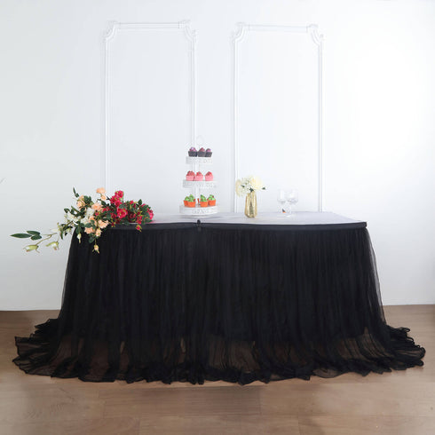 17FT Black Extra Long 48 inch Two Layered Tulle & Satin Table Skirt