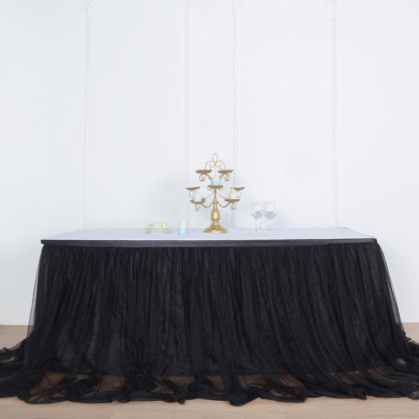 "17FT Black Extra Long 48"" Two Layered Tulle & Satin Table Skirt"