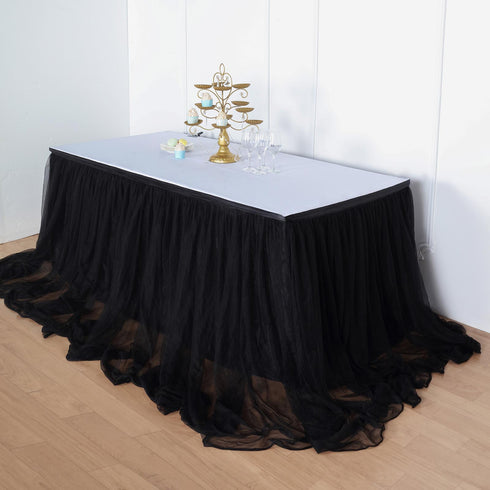 21FT Black Extra Long 48 inch Two Layered Tulle & Satin Table Skirt