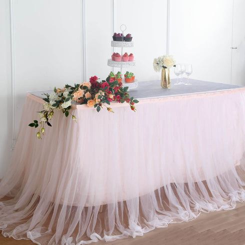 21FT Extra Long 48 inch Two Layered Tulle & Satin Table Skirt - Blush/Rose Gold | White