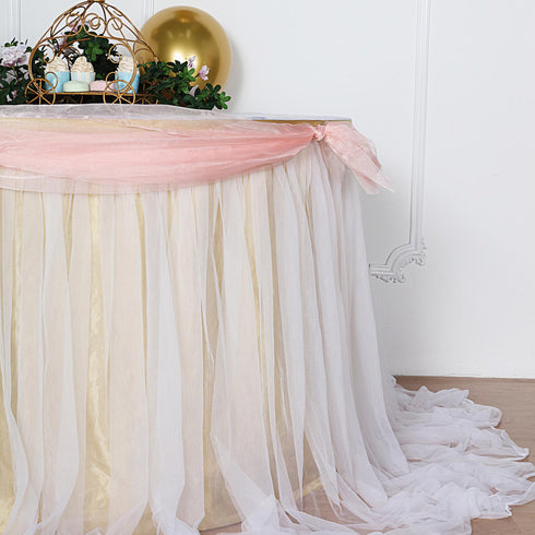 14FT Extra Long 48 inch Two Layered Tulle & Satin Table Skirt - Champagne | White