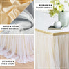 "21FT Extra Long 48"" Two Layered Tulle & Satin Table Skirt - Dusty Blue 