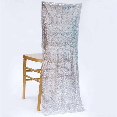 Extravaganza Duchess Sequin Chair Slipcover - Silver
