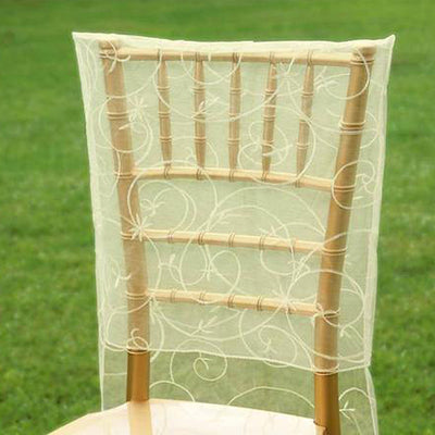 Ivory Satin Embroidery Chair Slipcover With Shimmering Organza