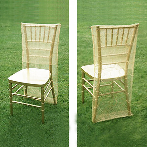 Ivory Organza Chiavari Chair Covers | Chair Slipcovers with Satin Embroidery