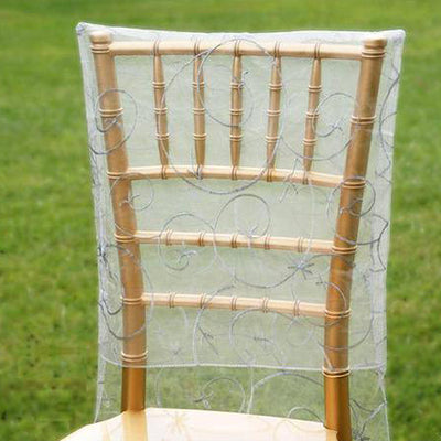 Silver Satin Embroidery Chair Slipcover With Shimmering Organza