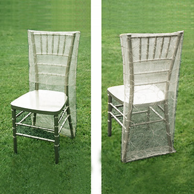 Silver Organza Chiavari Chair Covers | Chair Slipcovers with Satin Embroidery