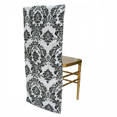 Wholesale Taffeta Bottom Velvet Flocking Chair Slipcover - Black/White