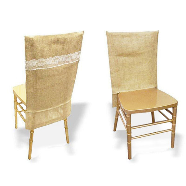 Natural Jute Burlap Chair Slipcover