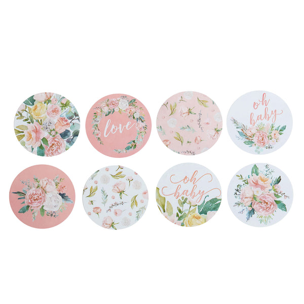 "500PCS | 1.5"" Round Baby Shower Stickers Roll, Envelop Seals DIY Floral Stickers - Love & Oh Baby"