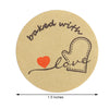 "500 PCS | 1.5"" Self Adhesive 'Baked with Love Stickers' Roll, Bakery Cookies Labels"