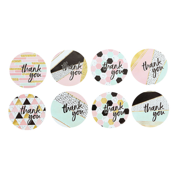 "500pcs | 1.5"" Round Thank You Stickers Roll With Geometric Decor, DIY Envelop Seal Labels"