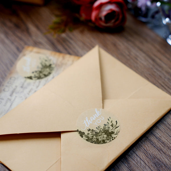"500pcs | 1.5"" Round Thank You Stickers Roll With Natural Greenery Background, DIY Envelope Seal Labels"