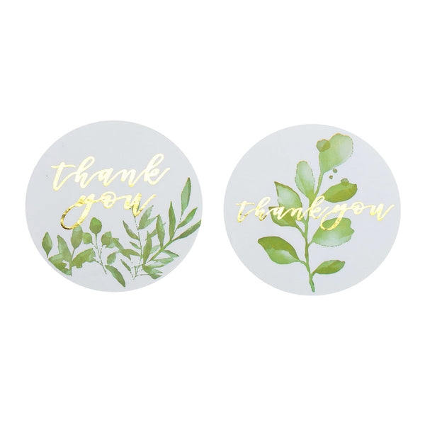 "500pcs | 1.5"" Round Thank You Stickers Roll With Gold Foil Text Green Leaves Décor, DIY Envelope Seal Labels"