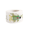 Round Green Leaves Décor Thank You Stickers Roll with Gold Foil Text, Envelope Seal Labels