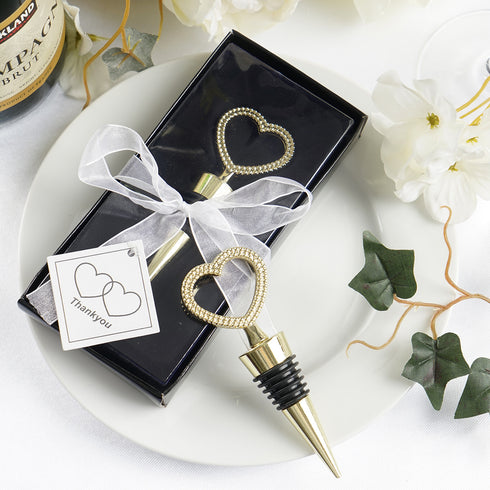 Gold Metal Rhinestone Studded Heart Wine Bottle Stopper With Velvet Gift Box