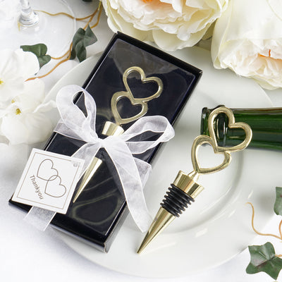 Gold Metal Double Heart Wine Bottle Stopper Wedding Favor With
