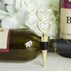Gold Metal Double Heart Wine Bottle Stopper Wedding Favor With Velvet Gift Box