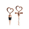 Blush | Rose Gold Metal Heart Wine Bottle Opener and Stopper Wedding Favor Set With Velvet Gift Box