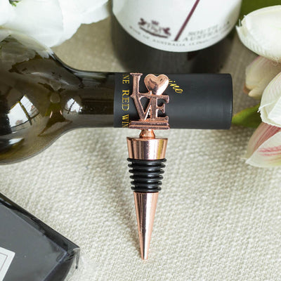 Rose Gold Metal Love Wine Bottle Stopper Wedding Favor With Velvet Gift Box