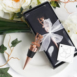 Rose Gold Metal Love Wine Bottle Stopper With Velvet Gift Box