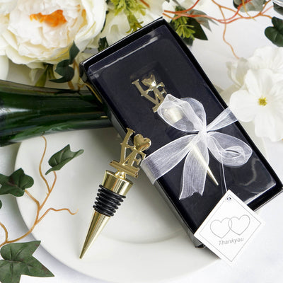 f47a2e9fcf ... Wedding Favor With Velvet Gift Box · Gold Metal Love Wine Bottle  Stopper With Velvet Gift Box ...