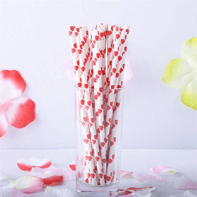 Heart Dotted Paper Straws 25/pk - White / Red