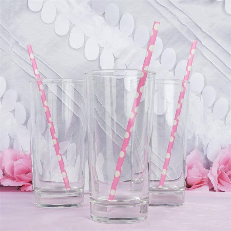 Polka Dotted Paper Straws 25/pk - White / Pink