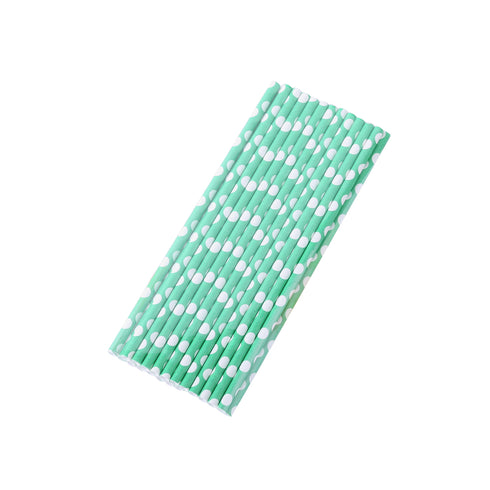 25 Pack White/Green Polka Dotted Paper Disposable Straws