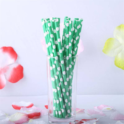 Polka Dotted Paper Straws 25/pk - White / Green
