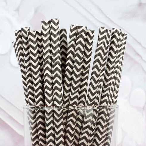 "25 Pack 8"" White/Black Wavy Striped Disposable Paper Straws"