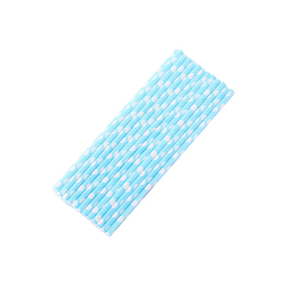 25 Pack White/Aqua Polka Dotted Paper Disposable Straws