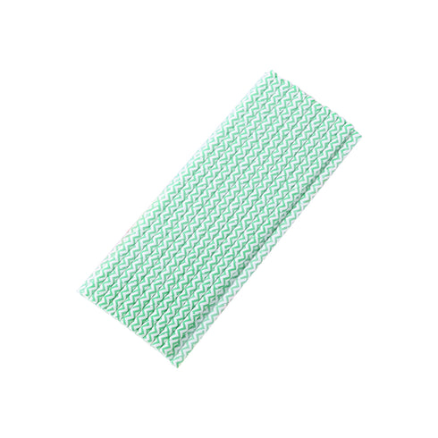 25 Pack White/Green Wavy Striped Disposable Paper Straws