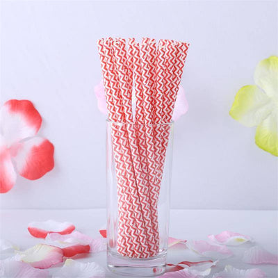 Wavy Striped Paper Straws 25/pk - White / Red