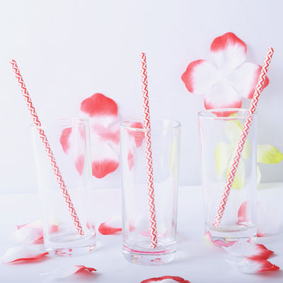 "25 Pack 8"" White/Red Wavy Striped Disposable Paper Straws"