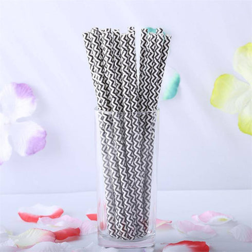 Wavy Striped Paper Straws 25/pk - White / Black