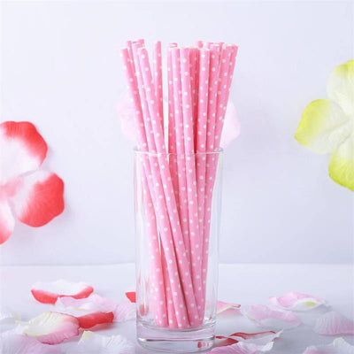 Mini Dots Paper Straws 25/pk - White / Pink