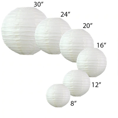 "12 Pack | 8"" Silver Round Chinese Paper Lantern"