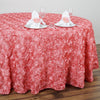 "120"" Rose Quartz Grandiose Rosette 3D Satin Round Tablecloth"